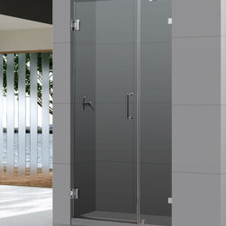 """Dreamline - UnidoorLux 42"""" Frameless Hinged Shower Door, Clear 3/8"""" Glass Door - The UnidoorLux shower door shines with a sleek completely frameless glass design. Premium thick tempered glass combined with high quality solid brass hardware deliver the look of custom glass at an incredible value."""