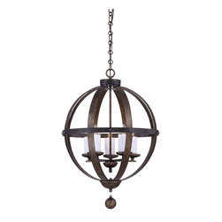 Alsace 5 Light Pendant - Alsace is a sophisticated collection of chandeliers inspired by the wine barrels popularly used in French vineyards. Bold in scale and commanding in presence, Alsace has riveted iron details, soft white beeswax candle covers and a Reclaimed Wood finish. These chandeliers are upscale and relaxed, making them the perfect complement for living rooms, gourmet kitchens and wine rooms.