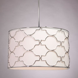 Artcraft - Morocco 5-lt Chandelier - The 5 light Morocco circular fixture is comprised of elegant chrome metalwork accompanied by a white linen shade with a bottom glass diffuser.