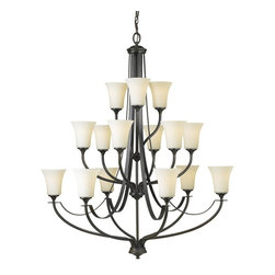 Murray Feiss - Murray Feiss Barrington Transitional Chandelier X-BRO3+6+6/4522F - Subtle traditional styling has been blended with clean lines for an updated look to this Murray Feiss chandelier. From the Barrington Collection, it features three tiers of lights for plenty of ample lighting. The contrasting finishes, including the Oil Rubbed Bronze finish and 15 opal etched glass shades, add visual interest that pulls the look together.