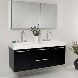 Fresca - Fresca Opulento Black Modern Double Sink Bathroom Vanity with Medicine Cabinet - There is always great design in simplicity. Double the greatness with this double sink vanity with accompanying medicine cabinet. To ease any storage worries, beautiful mirrored medicine cabinet will satisfy immediate storage needs for two. A beautiful widespread chrome faucet is also included. A great ensemble for those with room to spare but not without limitations on measurements. Ideal for anyone looking for a winning combination of style, sleek design, and size that brings it all together to present something dashingly urban. Optional side cabinets are available. Features MDF/Veneer with Acrylic Countertop/Sinks with Overflow Soft Closing Drawers and Doors Widespread Faucet Mount P-traps, Faucets/Pop-Up Drains and Installation Hardware Included How to handle your counter Installation GuideView Spec Sheet