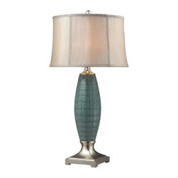 Dimond Lighting - D2272-LED Cumberland Table Lamp, Turquoise Glaze / Silver Leaf - Traditional Table Lamp in Turquoise Glaze / Silver Leaf from the Cumberland Collection by Dimond Lighting.