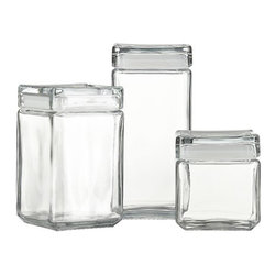 Stackable Glass Storage Jars - Keep your kitchen staples organized and neat with these lovely stackable glass containers.
