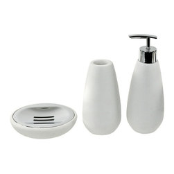 Gedy - 3-Piece White Stone Bathroom Accessory Set - Accessory set from the Gedy Fiona collection is made of white stone.