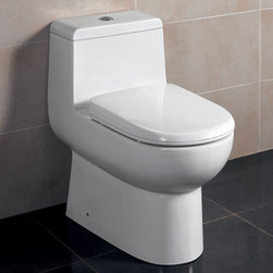 "Atlas International Inc - Dual Flush Toilet - Ariel Platinum Contemporary European ""Camilla"" - Modern Eco-Friendly One Piece White toilet. Ariel cutting-edge designed one-piece toilets with powerful flushing system. It's a beautiful, modern toilet for your contemporary bathroom remodel."