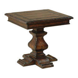 Ambella Home - Aspen Rectangular End Table - Add some rustic charm to your living room with this beautifully carved end table. The hardwood mahogany finish brings a warm and rich quality that transforms a house into a home. Pair it with a cozy sofa and side chair and your favorite room in the house will finally be complete.