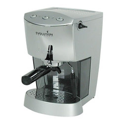 Gaggia - Evolution Silver Finish Espresso Machine w Steam Setting - Home baristas will love this stylish, functional espresso machine, a perfect addition to any coffee lover's kitchen decor. Constructed of stainless steel in silver tone finish, the commercial style unit can brew a perfect cup of espresso, and also includes a frothing wand for cappuccinos, lattes and more. Accessories included are single pod, double shot stainless steel filter baskets, coffee tamper, measuring scoop & instructional manual. Chrome-plated marine brass commercial style portafilter for use with ESE coffee pods & ground coffee. Chrome-plated marine brass commercial style brew group. Turbo-frother frothing wand. Passively heated cup warmer. 44 oz. Removable water reservoir. 3.5 oz. Aluminum boiler with 2 heating elements. 3 Push-buttons allow for power, steaming & brewing. 55-Watt electric pump. 1425 Watts - 110/120 Volts . Lightweight heat-resistant . Made of polycarbonate material. 1 Year warranty for labor, 2 years for parts. Any machines taken out of the United States are voided of their warranty. 10.6 in. D x 8.7 in. W x 13.4 in. H (15 lbs.)Ready to create café style drinks from the comfort of your kitchen? The Gaggia Evolution is the perfect machine for the home barista, featuring 15 bars of maximum pump pressure and a commercial style chrome-plated marine brass portafilter for top-notch heat retention. Its control panel has 3 push buttons for simple brewing, steaming and on & off. The Evolution's streamlined construction creates a smart, modern design no matter where you choose to display it. For added convenience, the Gaggia Evolution includes 2 stainless steel portafilter baskets – one for brewing single shots and pods and the other for brewing double shots. With the help of a Turbo-frother frothing wand, you'll soon be enjoying lattes, cappuccinos, macchiatos and more.