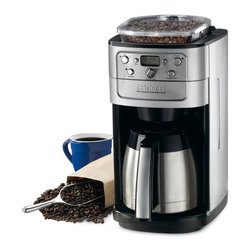 Cuisinart - Cuisinart DGB-900BC Brushed Chrome 12-cup Coffeemaker - This remarkable 12-cup coffee maker grinds your coffee beans and then brews coffee for a wonderfully fresh taste. Your coffee stays hot with the thermal carafe. If you want a cup before brewing has finished,you will enjoy the brew-pause feature.