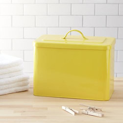 Rectangular Yellow Bin with Lid - Heavy-duty iron bin with a yellow powdercoat finish offers bright, sturdy storage for laundry, garage, closet or utility room.