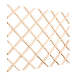 Hardware Resources - Wine Lattice Rack - Can be cut to size. Can be finished to match the application. Mouldings are 0.43 in. wide x 0.75 in. tall. 4 in. x 4 in. bottle openings. Solid double UV coating. Made from hard maple. Made in USA. 24 in. W x 0.87 in. D x  30 in. H