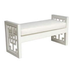 Tatum Bench - I'm loving this modern white fretwork bench. It would be amazing in an entryway or at the foot of a bed.