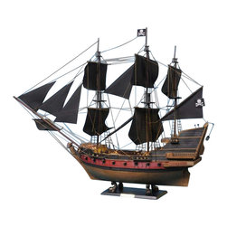 """Handcrafted Model Ships - Captain Kidd's Black Falcon Limited 36"""" - Black Sails - Sold Fully Assembled"""