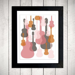 Modern Guitars Nursery Wall Art By metrobabycards - Don't you just love the modern color scheme in this guitar print? I love the combination of pink and tangerine.