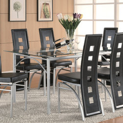 Coaster - Los Feliz Collection Dining Table in Silver - Create a contemporary look in your dining room or kitchen with this dinner table. The distinctive piece contains a metal base with glass top and a matte silver finish. Give your home some modern character with this dining table.