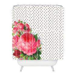 DENY Designs - Allyson Johnson Floral Polka Dots Shower Curtain - Who says bathrooms can't be fun? To get the most bang for your buck, start with an artistic, inventive shower curtain. We've got endless options that will really make your bathroom pop. Heck, your guests may start spending a little extra time in there because of it!