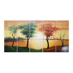 "Fabuart - ""Changing Sun"" Green & Brown Tree Art Painting - 60 x 32in - ART DIMENSION"