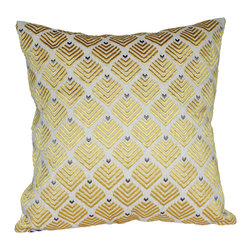 Auburn Design Studio - Cotton Silk Thread Embroidery - Cotton Silk Thread Embroidered throw pillow. Cotton base with thread embroidery. This is a beautiful pillow with a stunning combination of beige and yellow.