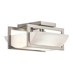 KICHLER - KICHLER 42419NI Crescent View Soft Contemporary/Casual Lifestyle Semi-Flush Ceil - This 2 light semi-flush ceiling light from the Crescent View(TM) Collection is a work of modern art. Its simple straight lines, sleek Brushed Nickel Finish and bold geometric shapes are contrasted by the gently curved Opal-Etched Glass shade. This streamlined, no-fuss design exemplifies contemporary styling to create a cool, clean look that's also calm and inviting.
