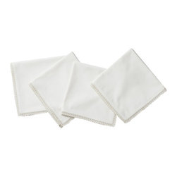 Coyuchi - Coyuchi Grand Lace Napkins, Set of 4 - Our smooth cotton napkins are edged with a whisper of lace, to coordinate with our Grand Lace tablecloth, lend romance to a bare wood table or pair with linens of your own.
