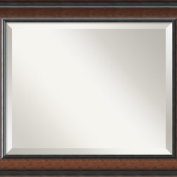 Amanti Art - 'Cyprus Walnut Wall Mirror - Medium' 25 x 21-inch - This mirror features rich dark walnut, a raised outer edge sloping to a subtle inner bevel.