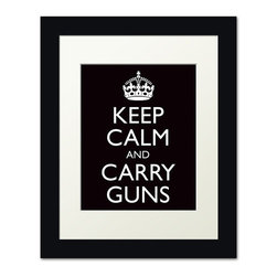 Keep Calm Collection - Keep Calm and Carry Guns, framed print (black) - This item is an Art Print which means it is a higher-quality art reproduction than a typical poster. Art prints are usually printed on thicker paper, resulting in a high quality finish. This print is produced on a 270 gsm fine art paper stock.