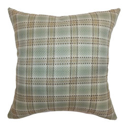 """The Pillow Collection - Wacian Plaid Pillow Aqua Brown 20"""" x 20"""" - Stylize your home with this statement throw pillow, which features a classic plaid print pattern in aqua and brown color combination. The pattern runs from the back to the front of the accent pillow. This 20"""" contemporary pillow shows off a modern vibe and ideal for casual and formal settings. Place this square pillow on a large sofa, stand alone chair or bed as a finishing touch. Made from 100% durable cotton fabric. Hidden zipper closure for easy cover removal.  Knife edge finish on all four sides.  Reversible pillow with the same fabric on the back side.  Spot cleaning suggested."""