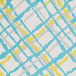 Kimberly Lewis Home - Beverly Wallpaper, Roll, Lime Fuzz - Maybe it's time you go off the grid. The fun colors and stylized plaid of this wallpaper add a stylish slant sure to wake up any space.