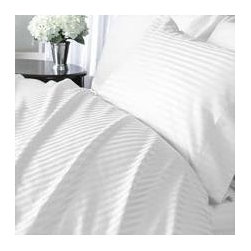 Luxor White Striped 1200 Thread Count Egyptian Cotton Bed Sheet Sets, Queen - Have you ever stayed with friends or family and found that you're stuck sleeping in old tattered blankets and stained sheets? Treat your guests to comfortable bedding with these white striped 1200-thread-count Egyptian cotton linens.