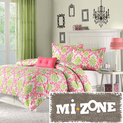 Mi-Zone - Mizone Monica 4-piece Comforter Set - Delight the young girl in your life with this floral four-piece comforter set from Mizone. This colorful set includes a comforter,decorative pillow and shams. The vibrant green and coral pattern will brighten up any bedroom space with glorious color.