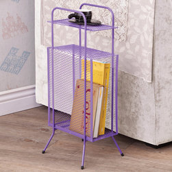 """Coaster - Storage Table, Purple - A simple and effective storage solution for small spaces and nooks. This metal storage table features a tall rectangular compartment, a top shelf and sturdy metal legs with rubber grip feet.; Finish/Color: Purple; Dimensions: 11.50""""L x 9""""W x 25""""H"""