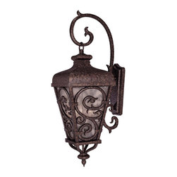 Savoy House - Savoy House 5-7140-56 Spaniard Wall Mount Lantern - A Karyl Pierce Paxton design with Spanish flair, in our bestselling New Tortoise Shell with Gold finish, pale cream seeded glass, and a heavy filigree grid design.