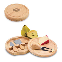 "Picnic Time - San Francisco 49Ers Brie Cheese Board Set in Natural Wood - The Brie cheese board set is the perfect sized accessory for a small party or get-together. The board is a 7.5"" swivel-style, split level circular cutting board made or eco-friendly rubberwood that swings open to reveal the cheese tools housed under the board. The three stainless steel cheese tools have rubberwood handles. Tools included are a hard cheese knife, a chisel knife (hard crumbly cheese), and a cheese fork. A carved moat surrounds the perimeter of the board which helps to prevent brine or juice run-off. The Brie makes a delightful gift.; Decoration: Engraved; Includes: 3 Stainless steel cheese utensils (1 hard cheese knife, a chisel knife (hard crumbly cheese), and cheese fork) with wooden handles"