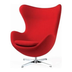 Mid-Century Modern Arm Chairs - Control Brand FB8308RED Mid Century Slattery Upholstered Lounge Chair