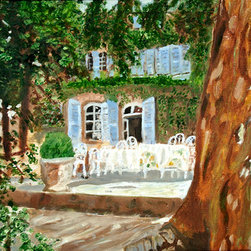 Chateaux De Varenne (Original) By Rex Maurice Oppenheimer - I stayed at this little chateaux near Avignon and loved having breakfast on the patio. The gentle elegance of the South of France nourishes my soul. As a dual American/French citizen I spend as much time there as I can, and the buildings and landscapes of France have imbued my soul and my paintings.
