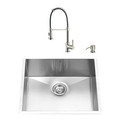 "VIGO Industries - VIGO All in One 23-inch Undermount Stainless Steel Kitchen Sink and Faucet Set - Give your kitchen a complete makeover with a VIGO All in One Kitchen Set featuring a 23"" Undermount kitchen sink, faucet, soap dispenser, matching bottom grid, and sink strainer."