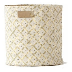 Pehr Citron/Grey Weave Canvas Storage Bin - This whimsical storage bin in squiggly citron yellow and grey horizontal lines is unique and durable. Made from 100% Heavy weight cotton canvas and machine washable. Just one of many prints to choose from, this striped bin will fit perfectly into your child's playroom or bedroom.