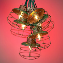 "Lamps Plus - Rustic - Lodge Metal Cage Lantern String Party Lights - Perfect for entertaining each of the lantern cage lights on this 10 piece strand are made of metal. Safe to string indoors or outside. Linkable up to 8 strands.Each bulb uses 5 watts of energy.  Metal cage retro industrial look.  Green finish on metal.  For indoor or outdoor use.   Linkable up to eight strands.  Includes ten 5 watt candelabra bulbs.  Strand is approximately 11 feet 6 inches long.  Each lantern is 3 1/2"" wide 3 1/4"" high."