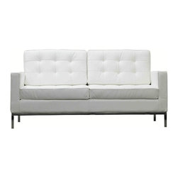 Modway Furniture - Modway Loft Leather Loveseat in White - Leather Loveseat in White belongs to Loft Collection by Modway The mid-20th century was a time when hopes were at their highest. Technological developments were bustling forward, and the new world was just barely visible in the distance. But this time also presented a dilemma of sorts. The test of this forthcoming era was to be whether industry would foster comfort or stifle it. What makes the Loft series so complete? At first glance, it displays a pleasant linear design with an external tubular stainless steel frame. The back and seat are tufted and buttoned to enhance the overall richness of the piece. But can these aspects be said to define the totality of a classic? The answer then must be something profound. A thought that serves as representative of that era, while matching the sentiments of our present age. Our suggestion is that the Loft series conveys the potential of progress. From amidst the steel base, a comfortable seating experience is attained. From out of the exponential surge of technological growth, comes peace and solace. Perhaps this is why Loft is the sofa series of choice for so many Fortune 500 companies. Aside from its iconic feel, the set is symbolic of a time when technological innovation could do no wrong. When ��_��_��_��_��_faster��_��_��_��_��_ was seen only as something positive. The Loft series is the preferred choice for reception areas, living rooms, hotels, resorts, restaurants and other lounge spaces. Set Includes: One - Loft Loveseat Loveseat (1)