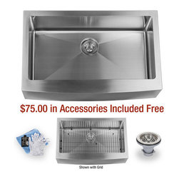 """Miseno - Miseno 33"""" Undermount Single Basin Stainless Steel Kitchen Sink Apron Front 16G - Included Free with Your Miseno Sink:"""