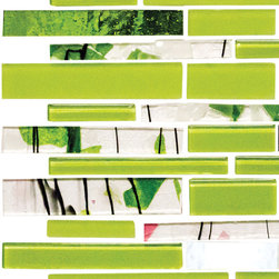 Quarter Sheet of Lime Green Subway Tile - Garden Party Series 6. A lime green and ivy inspired wall is a contemporary wow factor backsplash or accent wall. A touch of silver and lime green accent mirror tiles bring a contemporary vibe to this stunning arrangement of color and motif.