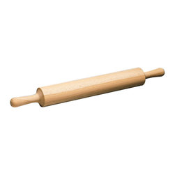 Paderno World Cuisine - Wood Rolling Pin, Wood Handles - This old-fashioned rolling pin is made of one piece and two handles. Due its construction, it has no gears and consequently no interstices for flour dust and food to find a nest.