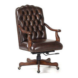 Randall Allan - Johnson Swivel Tilt - This adjustable desk chair is so posh, it may be hard to get any work done at all. With its curvy back covered in button-tufted chocolate leather and antiqued nailhead trim, it also features curvy solid wood arms and five feet. Whether you're counting dollars, friends on Facebook or naptime sheep, this is the chair for you.