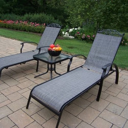 Oakland Living Cascade Sling 3 Piece Chaise Lounge Set - The Oakland Living Cascade Sling 3 Piece Chaise Lounge Set is a smart and relaxing way to spend your time outdoors. Constructed from durable aluminum material, this set is finished with a smooth black powder-coating that makes each piece extremely weather-resilient, for years of adorning your home, patio, deck or garden. With proper care, this set is designed to withstand generations of harsh weather, for comfort you can count on.The long sling chaises feature multi-position, adjustable backs for ideal comfort whether you're reading your sunbathing. The beveled glass end table is perfect for keeping your favorite beverage, book or magazine nearby while you're soaking up the sun.