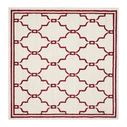Safavieh - Chelsea Indoor/Outdoor Rug, Ivory / Red 7' X 7' - Construction Method: Power Loomed. Country of Origin: Turkey. Care Instructions: Easy To Clean. Just Rinse With A Garden Hose. Coordinate indoor and outdoor living spaces with fashion-right Amherst all-weather rugs by Safavieh. Power loomed of long-wearing polypropylene, beautiful cut pile Amherst rugs are made to stand up to tough outdoor conditions, but designed with the aesthetics of indoor rugs. Use these family-friendly geometric designs on patios, in kitchens, busy family rooms and other high traffic rooms.