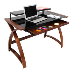 None - Bentley Wenge Wood Office Desk - Get organized with the Bentley Desk. Whether it's supporting a computer monitor or writing utensils, the extra shelving unit will keep your workspace clutter-free, allowing you to work with ease.