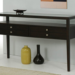 None - Aristo Halifax Brown Console Table - This brown console table makes a nice addition to an entryway, family room, or bedroom. The lovely Halifax-finished rubberwood frame and glass top creates elegance and durability, and two spacious drawers provide storage and organization.