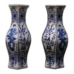 Golden Lotus - Pair Chinese Blue & White Porcelain Flower Lady Vases - This is a pair traditional Chinese decorative vases in blue & white color with oriental scenery graphic and interesting hexagon shape .