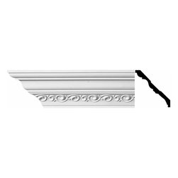 Renovators Supply - Cornice White Urethane Madeleine - Cornice - Ornate | 10978 - Cornices: Made of virtually indestructible high-density urethane our cornice is cast from steel molds guaranteeing the highest quality on the market. High-precision steel molds provide a higher quality pattern consistency, design clarity and overall strength and durability. Lightweight they are easily installed with no special skills. Unlike plaster or wood urethane is resistant to cracking, warping or peeling.  Factory-primed our cornice is ready for finishing.  Measures 5 inch H x 94 inch L.