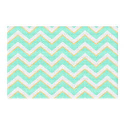 DiaNoche Designs - Area Rug by Monika Strigel - Caribbean Summer Flower Mint Chevron Yellow - Finish off your bedroom or living space with a woven Area Rug with Chevron pattern  from DiaNoche Designs. The last true accent in your home decor that really ties the room together. Maybe its a subtle rug for your entry way, or a conversation piece in your living area, your floor art will continue to dazzle for many years. 1/4 thick. Each rug is machine loomed, washed and pre-shrunk, printed, then hemmed on the edges.   Spot treat with warm water or professionally clean. Dye Sublimation printing adheres the ink to the material for long life and durability