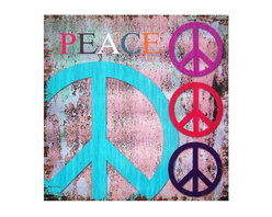 "Oriental Furniture - Peace Canvas Wall Art - Four 1960s peace sign graphics and the word ""Peace"" against a distressed background and grunge border. Features a unique color palette and juxtaposition of smooth and rough texture effects. Printed on art quality canvas stretched over a lightweight wood frame."